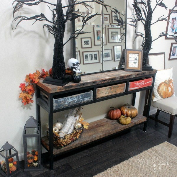 Halloween Entryway Decor and Mantle with FREE Printable
