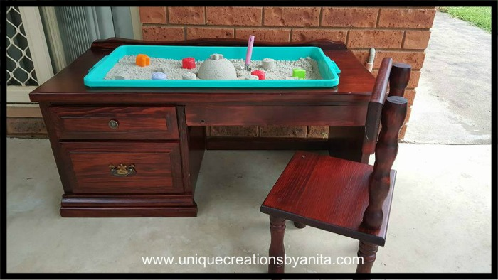 How to repurpose an old desk into a Sandpit