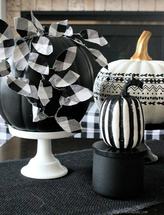 DIY Black Pumpkin Craft with DIY Buffalo Check Leaves
