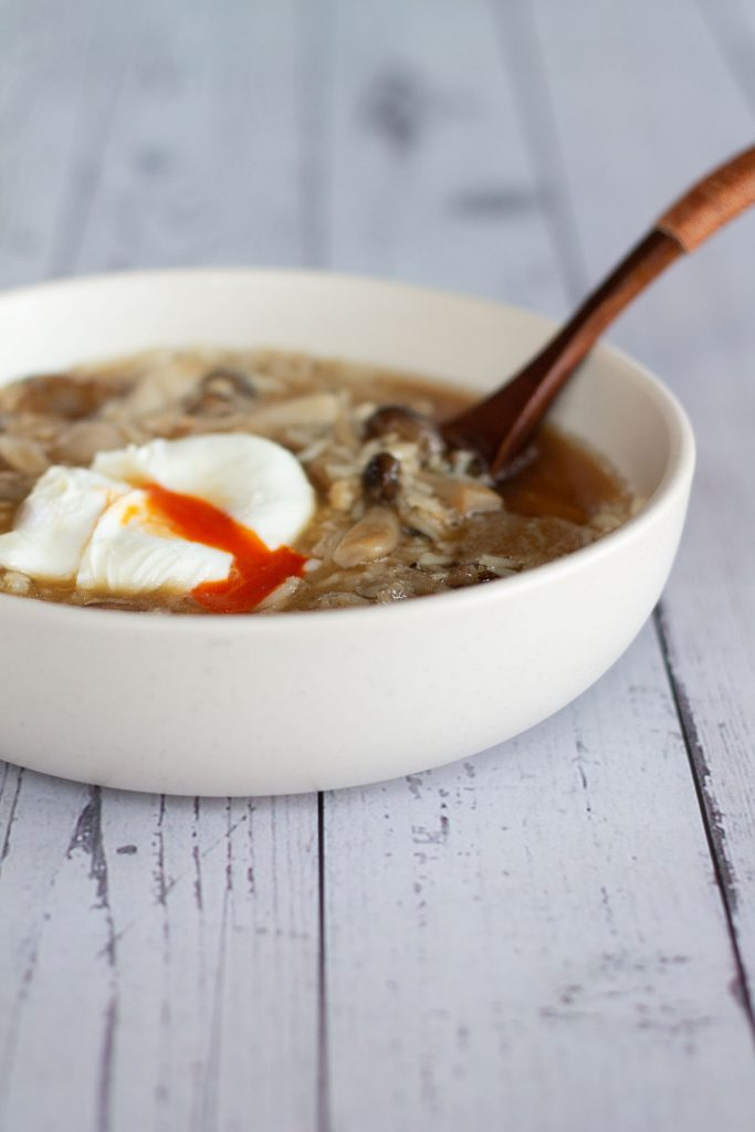 A bowl of mushroom and wild rice soup