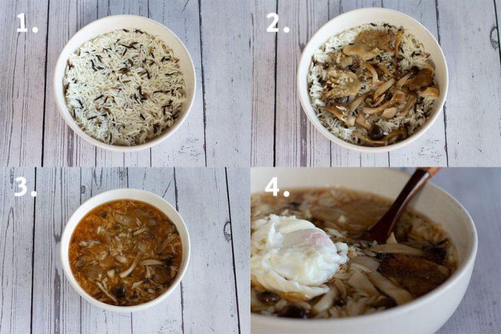 asembling mushroom and wild rice soup