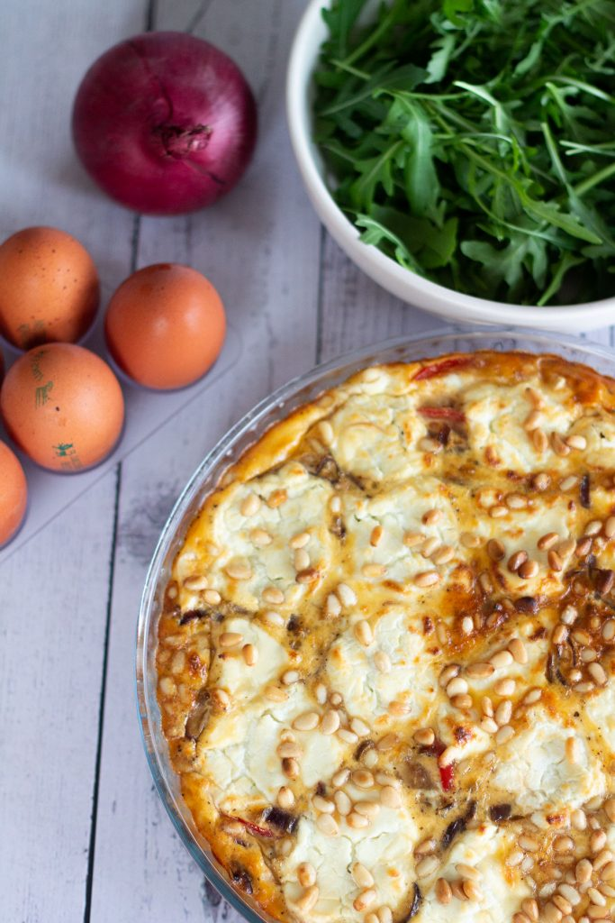 Baked goat cheese crustless quiche