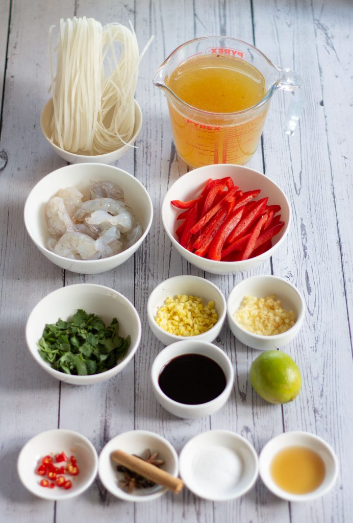 Prawn Pho ingredients