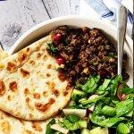 lamb mince flatbread in a bowl