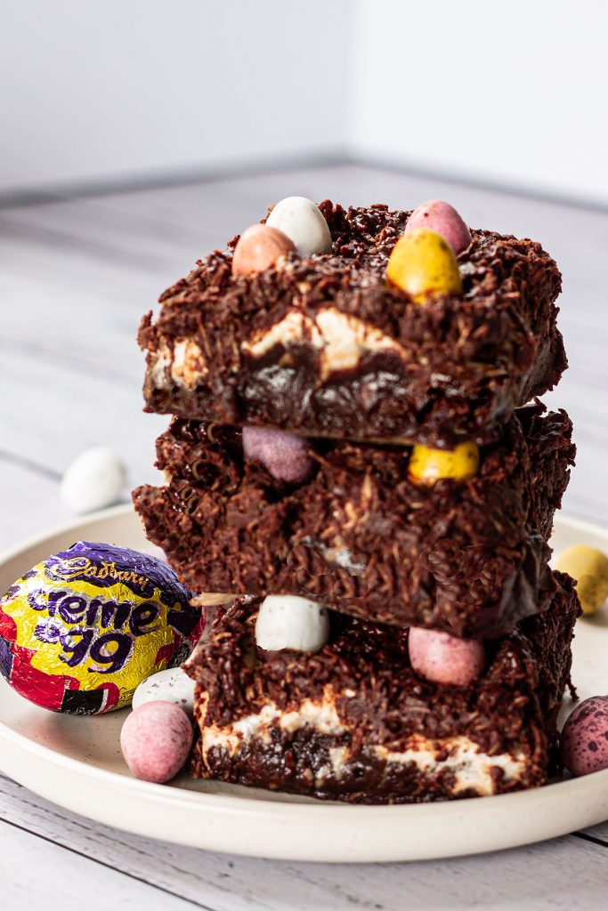 A stack of Cadburys Cream & Mini Egg Brownies