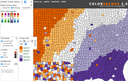 Screenshot of ColorBrewer, an app for generating color blind friendly color palettes.