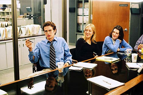 Stephen Glass (Hayden Christensen) entertains his co-workers