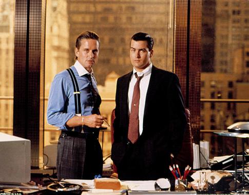 "Opposite Charlie Sheen in ""Wall Street"""