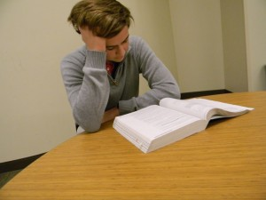 Sophomore Harrison Woodruff struggles to stay motivated as he begins to prepare for the SAT. Photo: Anna Stone