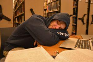 Sophomore John Williams dozes off during his free. (Photo: Margaret Bethel)