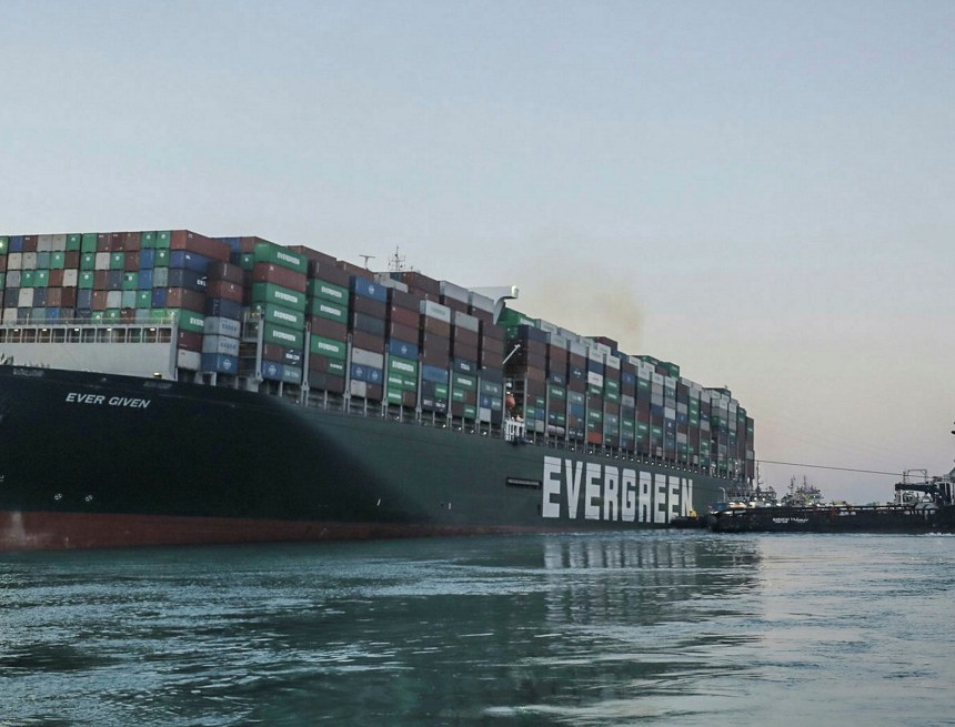 Suez canal: Ever Given ship partially refloated but bow still stuck