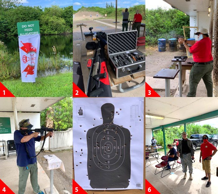 """1-Thanks to Sir Jose, The Knights of Malta (US) Range Day had full use of the Everglades.     2-Some other weapons used by our Knights & Dames.   3-Commissioner, Sir Jose """"Pepe"""" Diaz using his custom made Marines 45 ACP. A great shooter.   4-Ambassador, Sir James using his AR 15 and was host for Range Day.   5-Those huge holes are from the Benelli M4 3"""" Shotgun using slugs from 100' distance.   6-Sir Hector with big smile learning his daughter qualified for her concealed weapon License."""