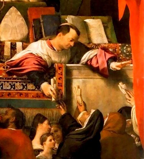 'The Alms of St. Anthony' (1542 AD) Lorenzo Lotto at Basilica dei Santi Giovanni e Paolo, Venice