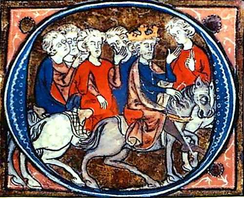 Arthur and his Knights Riding Back to Camelot (early 14th century) in 'Lancelot du Lac' French manuscript