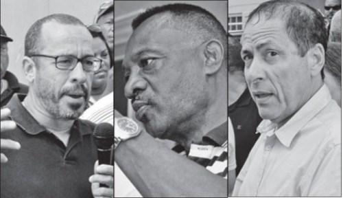 V.l.n.r. advocaten Eldon 'Peppie' Sulvaran, Anthony Eustatius en Chester Peterson (ook wel 'KFO advocaten' genoemd).