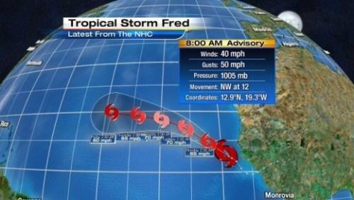 Fred, storm nummer zes