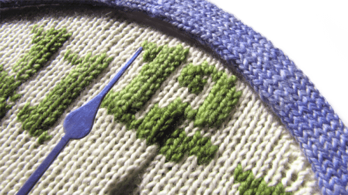 Knitted Clock pattern super close up