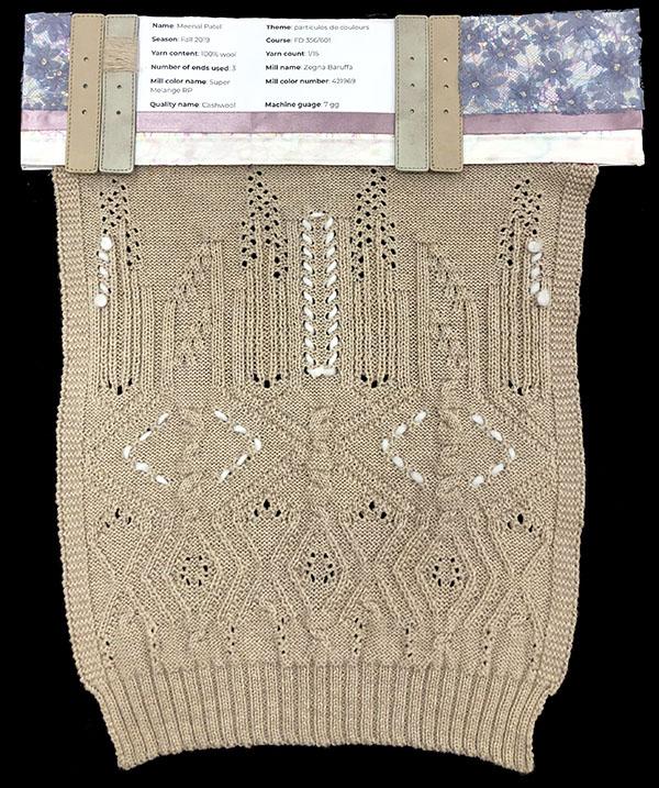 Designer: Meenal Patel- knitGrandeur: FIT Knitwear Specialization, Linear Stitch Design Project 2018