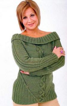 Зеленый вязаный джемпер с регланом
