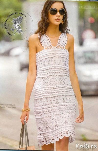 Блистательно-белое платье крючком