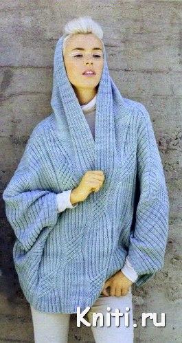Объемный свитер вязание спицами