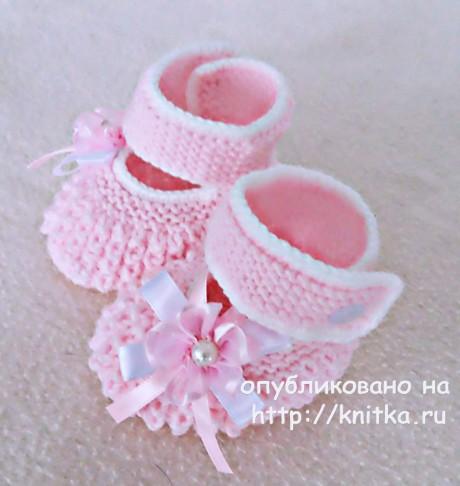 Вязаные спицами пинетки начинающим от Елены Зубковой
