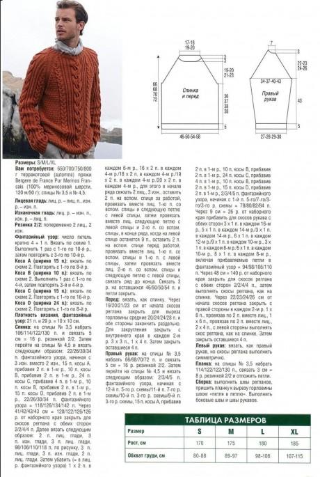पुरुष स्वेटर के विवरण और योजनाएं