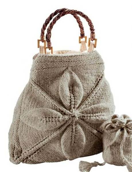 Beg dengan daun yang dikaitkan dengan jarum mengait