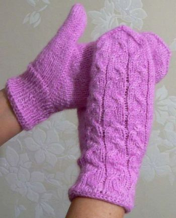 Beautiful mittens with knitting needles with Indian Wedge, description and video lesson