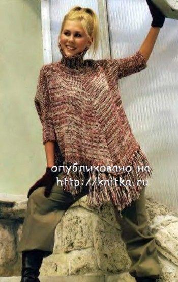 Comment tricoter Poncho triangulaire avec gorge, photo № 23