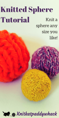 Knitted Sphere Tutorial Image with text