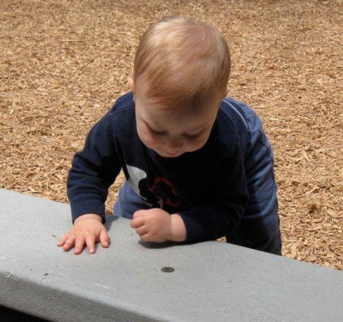 Baby at wall