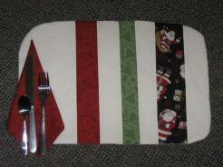pieced back: cream, red, cream, green, cream, Santa stripes
