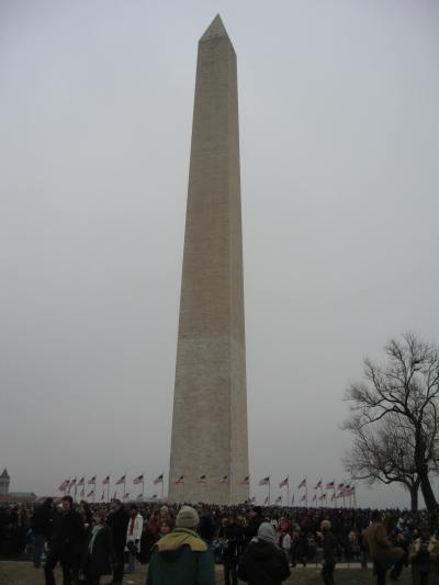 Taking advantage of the Washington monument's little hill