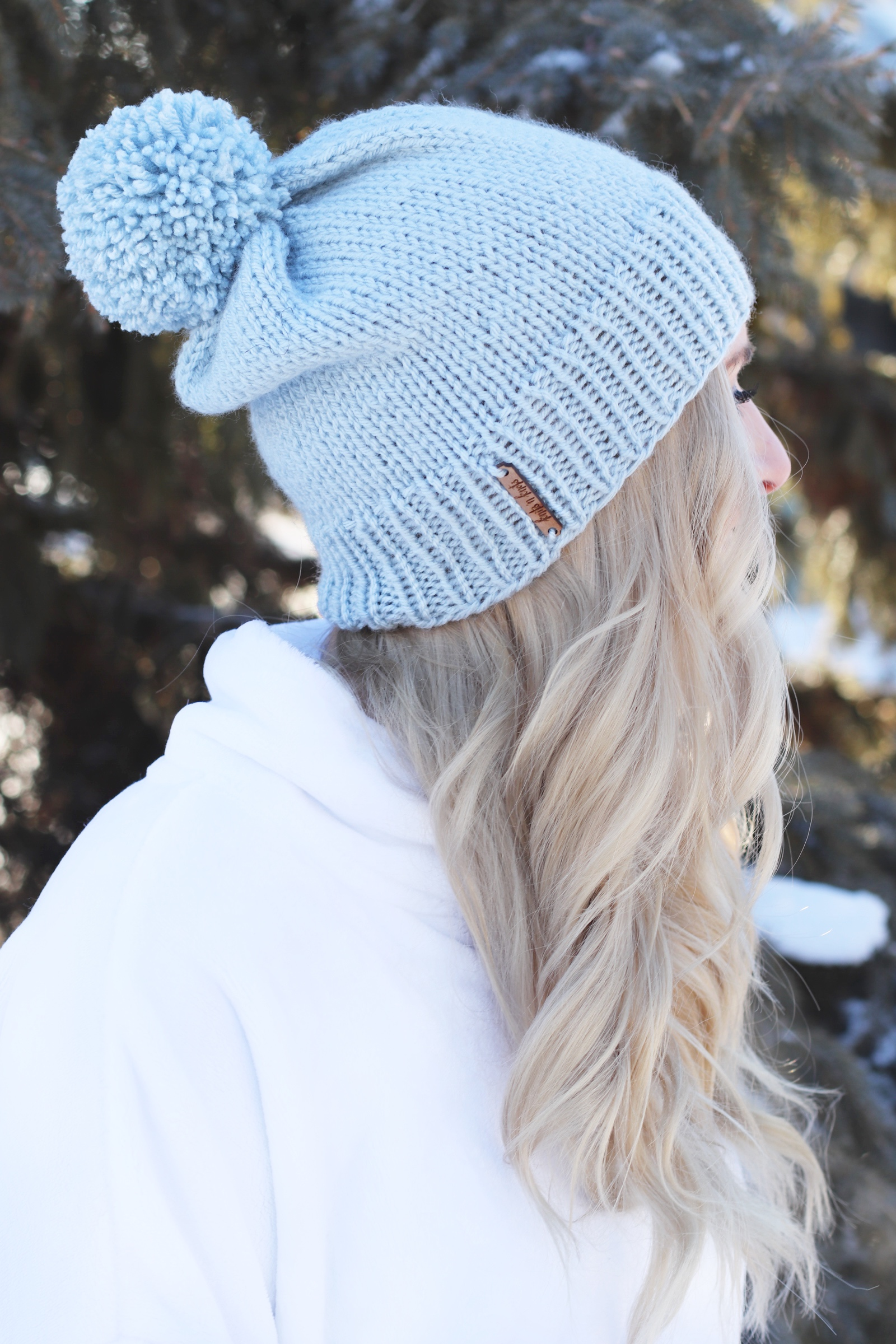 Dakota Pom Pom Hat – Basic Beginner Knit Hat with Large Pom Pom