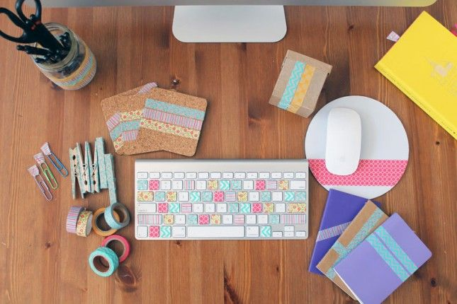Pin Ups: Washi tape office supplies| knittedbliss.com