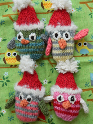 Free Pattern Knitted Owl Holiday Ornament Knitting