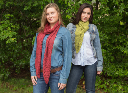 This chevron eyelet scarf is worked in two different yarns