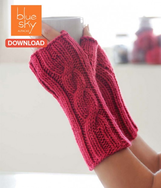 an easy handwarmer pattern from Blue Sky Alpacas