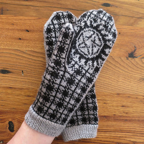 Knit mitts inspired by the show Supernatural.