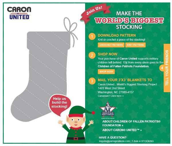 Help Caron make the world's biggest stocking and support the kids of fallen soliders.
