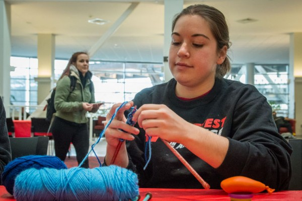 University of Cincinnati provides craft activities during finals week to calm students.