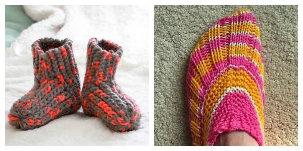 free, easy slipper knitting patterns