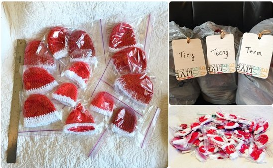 knit red hats for nicu babies