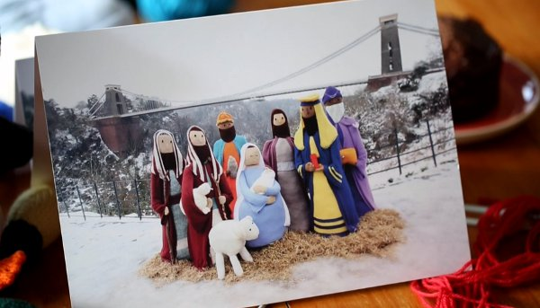 women knit giant nativity to remember friend
