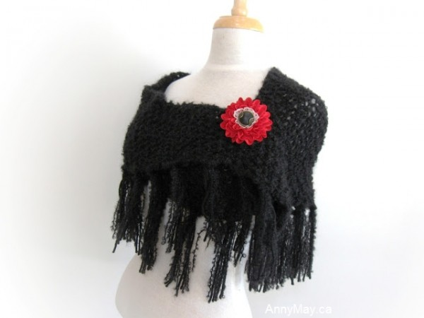 bulky trinagular moss stitch shawl