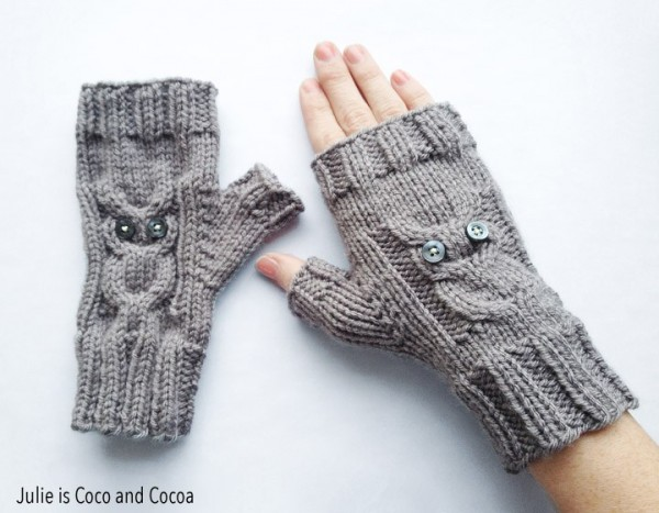 Knit Sweet Fingerless Gloves With Owl Cables Knitting
