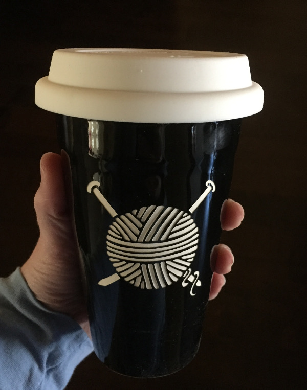 Knitting travel mug from Bread and Badger.