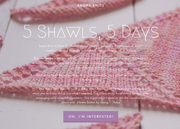 shawl knitting email series from aroha knits