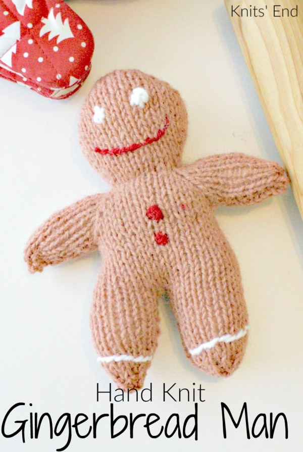 Hand knit a gingerbread man -- super easy pattern!